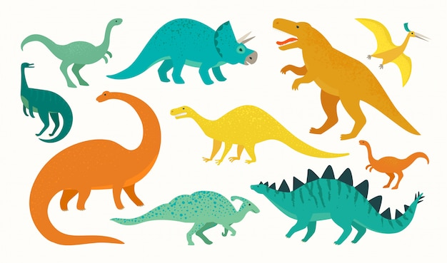 Jeu de dinosaure de dessin animé. collection d'icônes de dinosaures mignons.