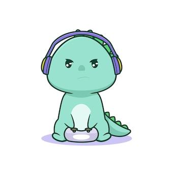 Jeu de dinosaure kawaii mignon avec un visage sérieux