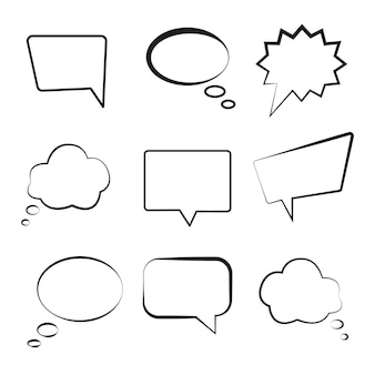 Jeu de discours de bulle différentes formes illustration vectorielle