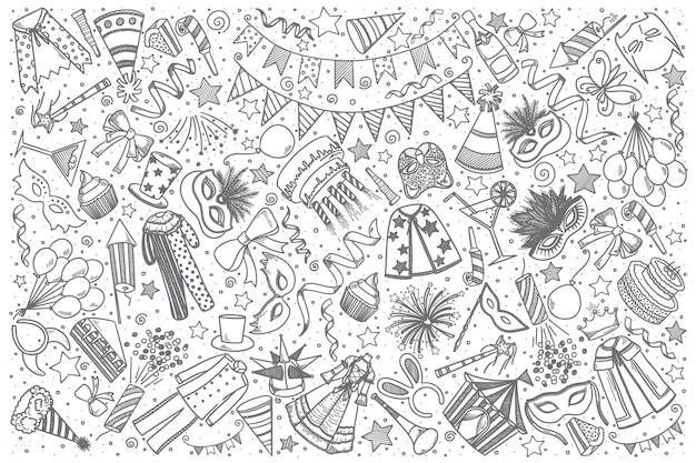 Jeu de doodle carnaval dessiné à la main