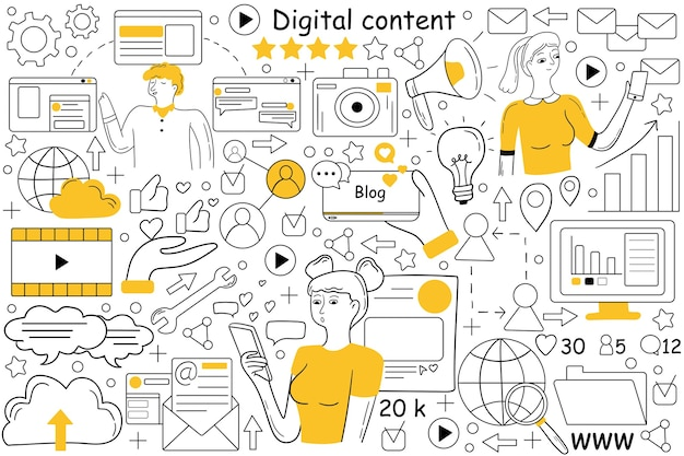 Jeu de doodle de contenu numérique