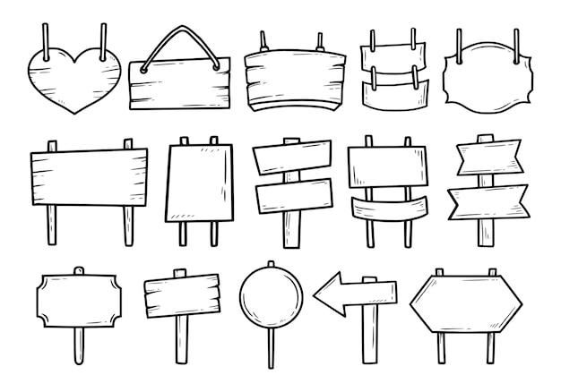 Jeu de doodle dessin contour signe bois