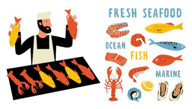 Jeu de doodle drôle de fruits de mer. homme de dessin animé mignon, vendeur de marché alimentaire avec du poisson frais. dessiné à la main