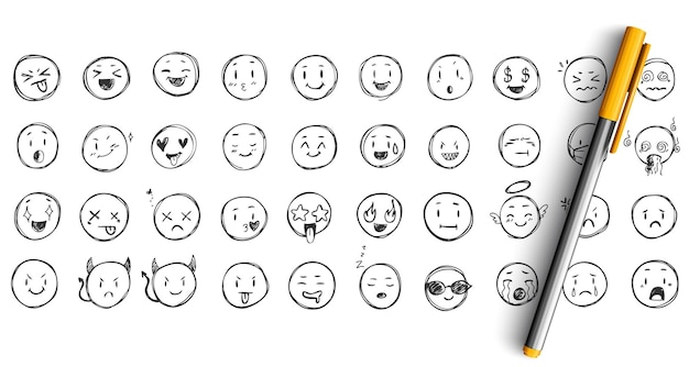 Jeu de doodle d'expressions de visage. collection de croquis dessinés à la main à l'encre au crayon. émoticônes drôles de visages heureux et bouleversés.