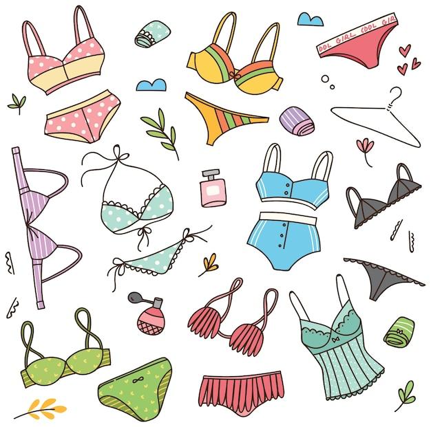 Jeu de doodle de lingerie
