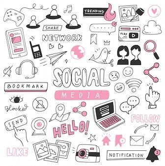 Jeu de doodle de médias sociaux dessinés à la main