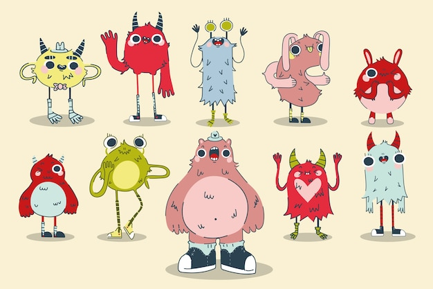 Jeu de doodle de monstres. collection de modèles de modèles colorés dessinés à la main de créatures fantasmagoriques alliens vilains cyclopes bêtes mascottes gremlins en colère. illustration du symbole de personnages halloween comiques.