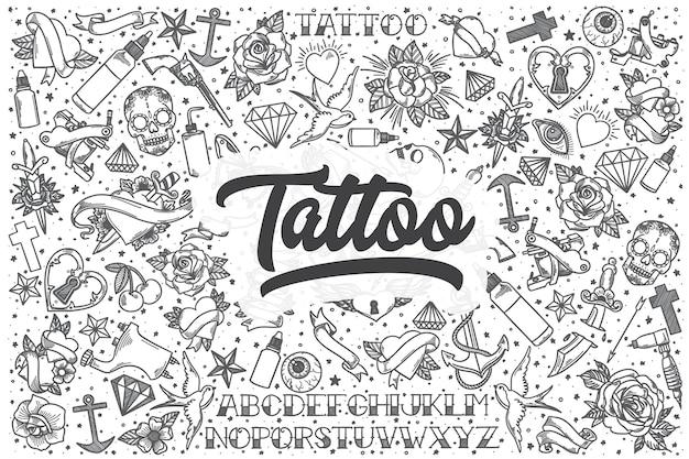 Jeu de doodle de tatouage dessiné à la main. lettrage - tatouage
