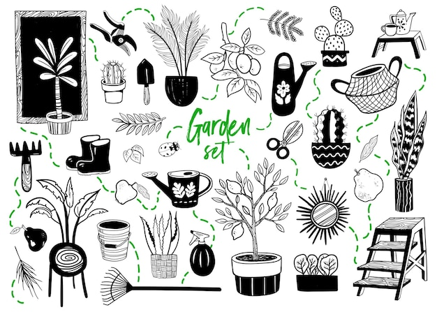 Jeu de doodle sur le thème du jardin illustration vectorielle dessinés à la main