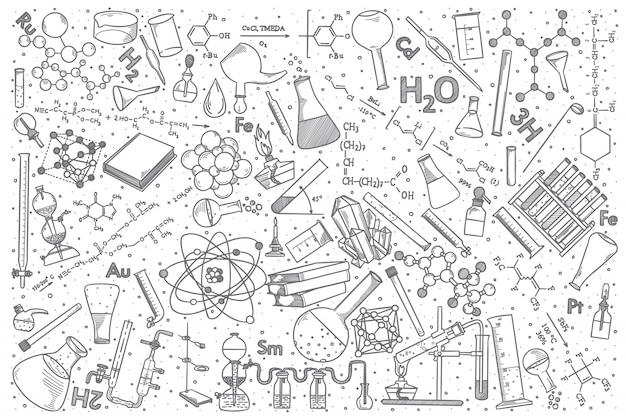 Jeu de doodle vecteur chimie dessiné à la main.