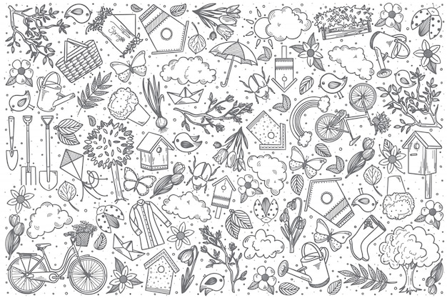 Jeu de doodle vecteur printemps dessiné à la main
