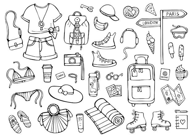 Jeu de doodle de voyage d'été. illustration des éléments noirs
