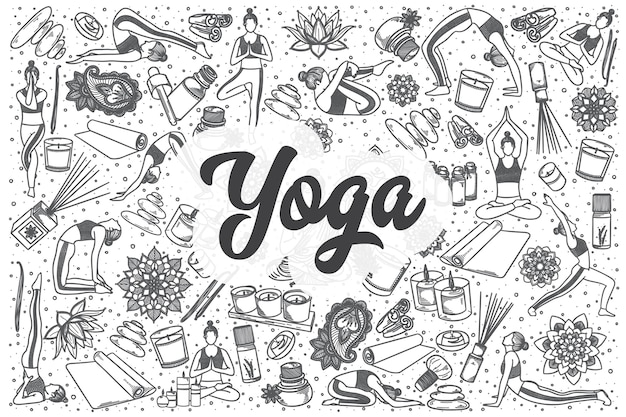 Jeu de doodle yoga dessiné à la main. lettrage - yoga
