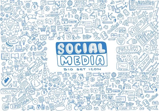 Jeu de doodles vecteur de médias sociaux