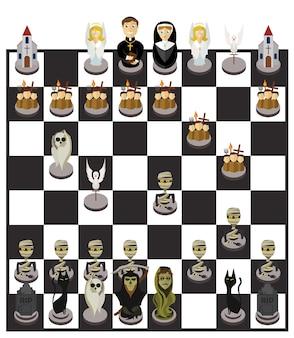 Jeu d'échecs et de personnages d'halloween