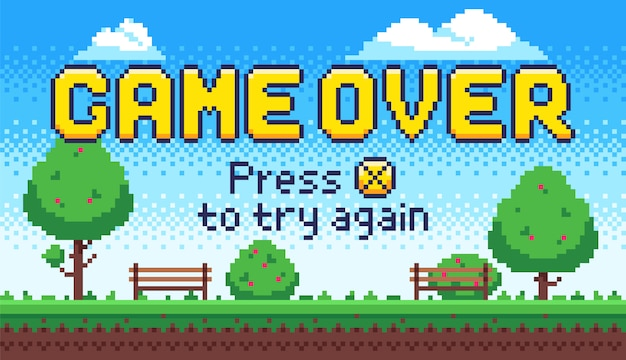 Jeu sur écran. jeux d'arcade rétro 8 bits, fin de vieux jeu vidéo pixel et pixels appuyez sur x pour réessayer signe illustration