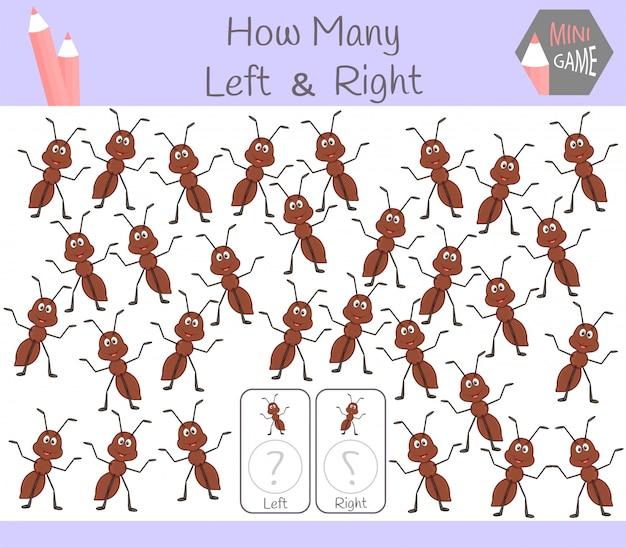 Jeu éducatif de comptage d'images orientées à gauche et à droite