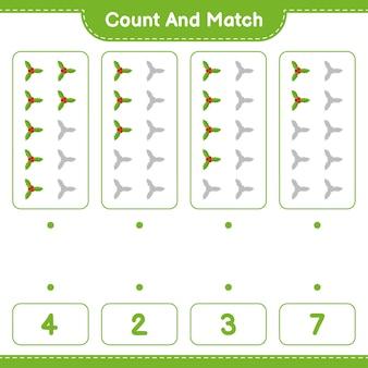 Jeu éducatif comptant le nombre de baies de houx et correspondant aux bons nombres