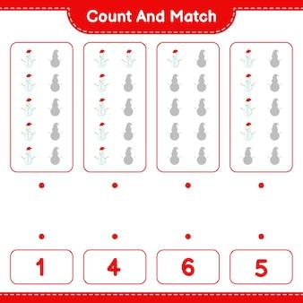 Jeu éducatif comptant le nombre de bonhomme de neige et correspondant aux bons nombres
