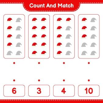 Jeu éducatif comptant le nombre de bonnet de noel et correspondant aux bons nombres