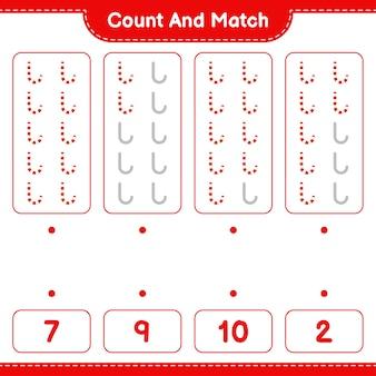 Jeu éducatif comptant le nombre de cannes de bonbon et correspondant aux bons nombres