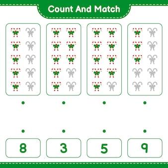 Jeu éducatif comptant le nombre de cannes de bonbon avec ruban et correspondant aux bons nombres