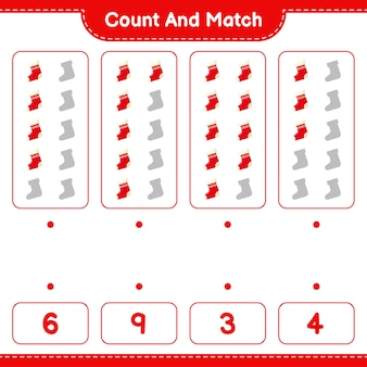Jeu éducatif comptant le nombre de chaussettes et correspondant aux bons nombres