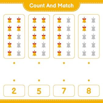 Jeu éducatif comptant le nombre de cloches de noël dorées et correspondant aux bons chiffres
