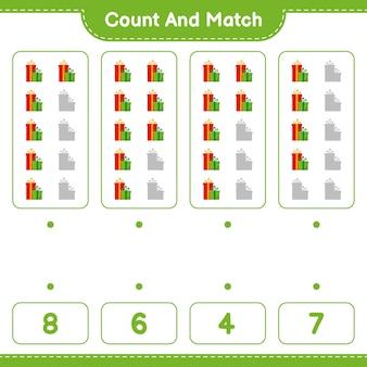 Jeu éducatif comptant le nombre de coffrets cadeaux et correspondant aux bons chiffres