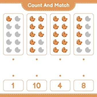 Jeu éducatif comptant le nombre de cookies et correspondant aux bons nombres
