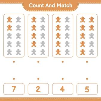 Jeu éducatif comptant le nombre de gingerbread man et correspondant aux bons nombres