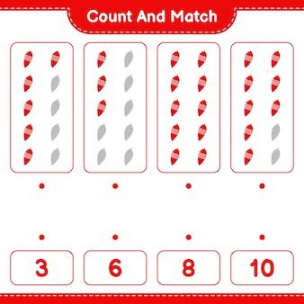Jeu éducatif comptant le nombre de lumières de noël et correspondant aux bons chiffres