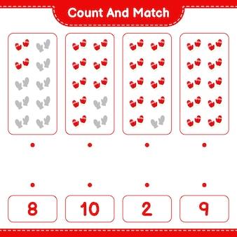 Jeu éducatif comptant le nombre de mitaines et correspondant aux bons chiffres
