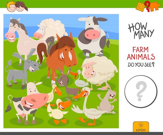 Jeu éducatif compter les animaux de la ferme