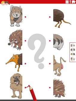 Jeu éducatif consistant à faire correspondre des moitiés d'images avec des animaux de dessins animés