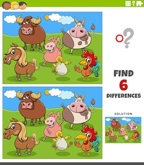 Jeu éducatif de différences avec des animaux de la ferme de dessin animé
