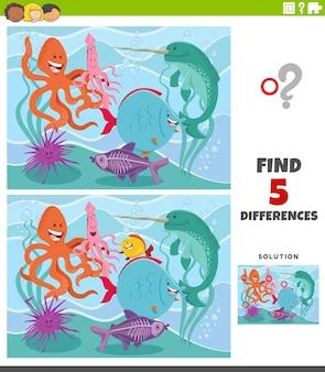 Jeu éducatif des différences avec des animaux marins