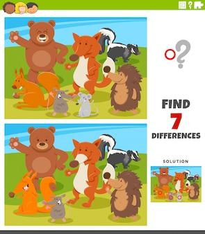 Jeu éducatif des différences avec des animaux sauvages