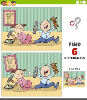 Jeu éducatif de différences avec des bébés de dessins animés