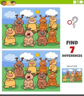 Jeu éducatif sur les différences avec les chiens comiques
