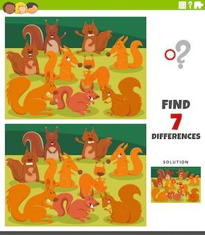 Jeu éducatif de différences avec des écureuils de dessin animé
