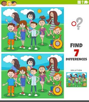 Jeu éducatif des différences avec les enfants et les adolescents