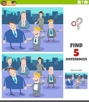 Jeu éducatif de différences avec des hommes d & # 39; affaires de dessins animés