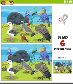 Jeu éducatif de différences avec des oiseaux de dessins animés