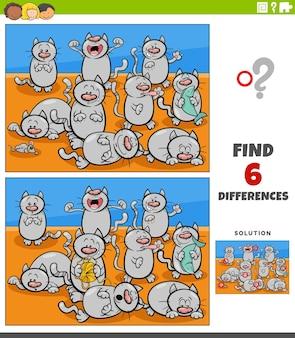 Jeu éducatif de différences avec des personnages animaux de chats
