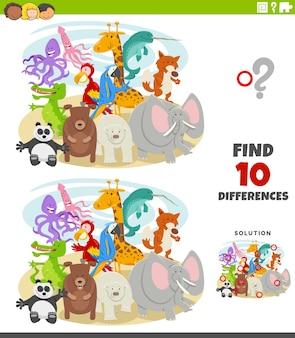 Jeu éducatif de différences avec des personnages d'animaux sauvages