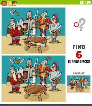 Jeu éducatif de différences avec des personnages de chevaliers