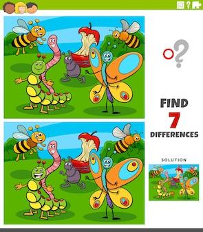 Jeu éducatif de différences avec des personnages d'insectes