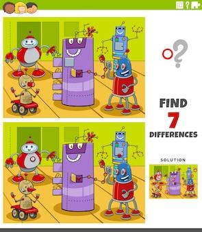 Jeu éducatif de différences avec des personnages de robots