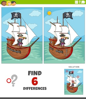 Jeu éducatif de différences avec pirate et bateau
